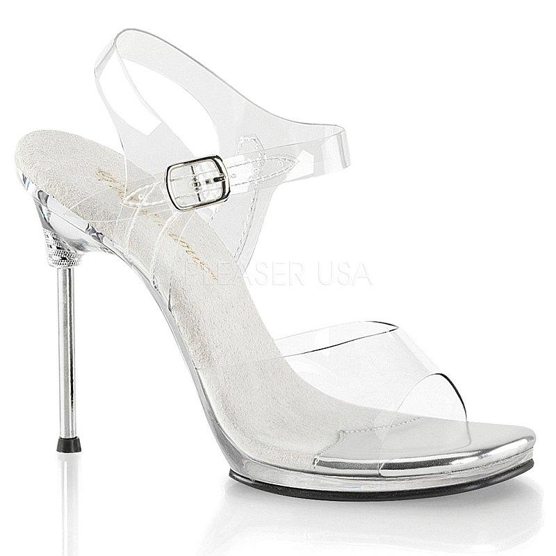 Pleaser CHIC-08 transparanta sandalen met naaldhak maat 35 - 36