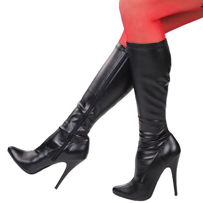 Pleaser SEDUCE-2000 zwarte laarzen met naaldhakken maat 37 - 38
